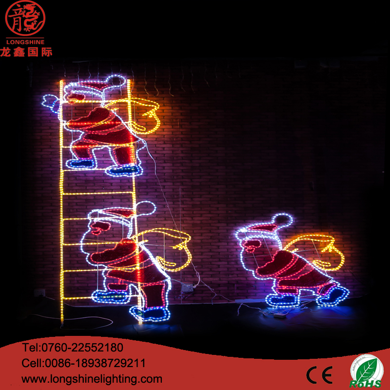 .2*1.5m LED Father Christmas 2D Street Light Pole waterproof for outdoor Decoration