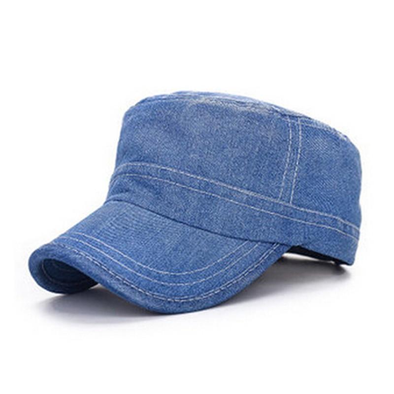 Custom Plain Denim Flat Top Jeans Cap Military Hats Wholesale ... 8136822976c