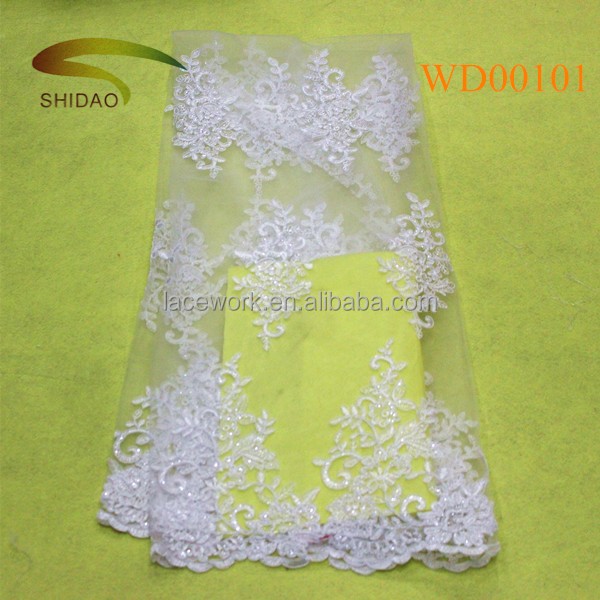 High quality swiss dress 3d lace fabric beads bridal