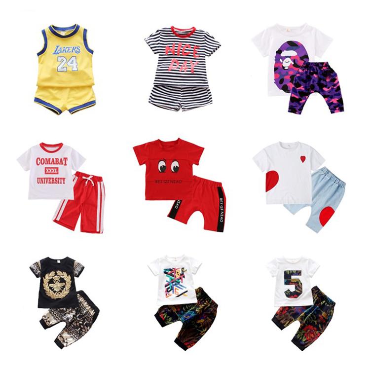 DRLEBE1903B14 2018 Amazon satış yaz erkek t shirt şort setleri toptan çocuk giysileri kentsel çocuk giyim setleri
