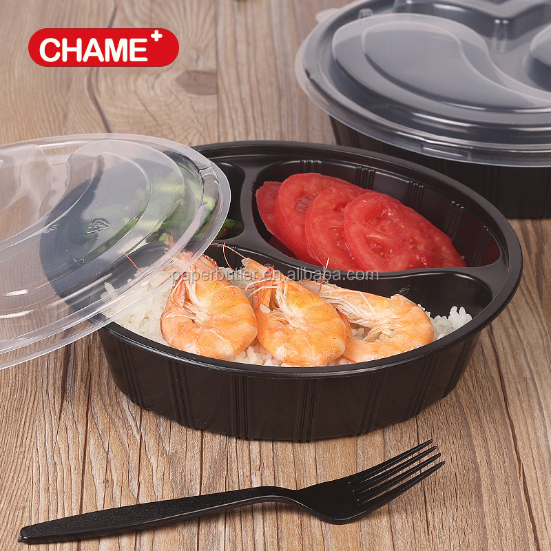 high quality disposable black round 3 compartment PP food container / takeaway food box