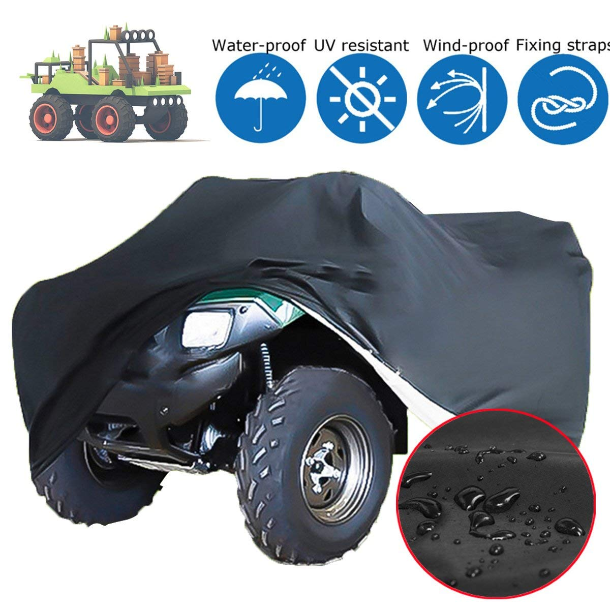 Essort Cover for Lawnmower, 170 61 117cm Waterproof Heavy-Duty Lawn Tractor Cover Universal Protection Hood Garage for Most Lawn Mowers with Storage Bag, Black Black 170 61 117cm