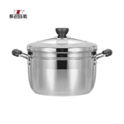 24CM thickened stainless steel bottom soup steamer pan bakelite handle with glass and stainless steel combined cover