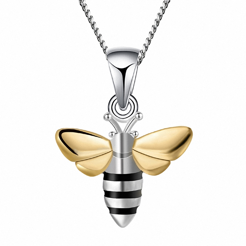 China supplier real silver gold honey bee jewelry pendant, Can be customized