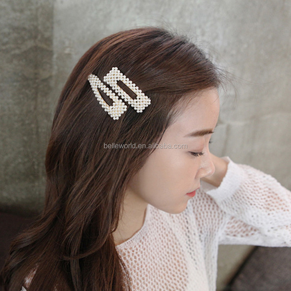 Hot-selling different shapes full pearls bobby hair clips for girls