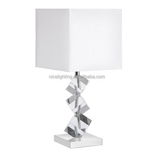 NEW COMING iron crystal fabric beige charcoal table lamp