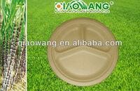 Sugarcane Fiber 10 inch 3 compartment round plate Natural Color Unbleached