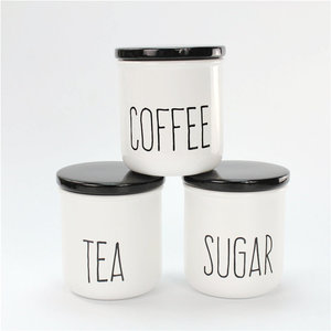 Plain White Tea Sugar Coffee Antique Canister Jar With Black Lids