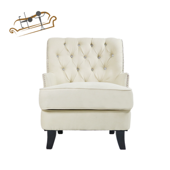 Office Bed Room Chesterfield Sofa Soft Linen Fabric Single Chair