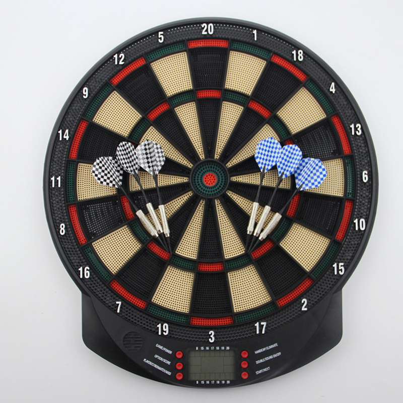 Professional Electronic Dartboard Battery Powered Soft Tip Dart Board with 6 Plastic Tip Darts