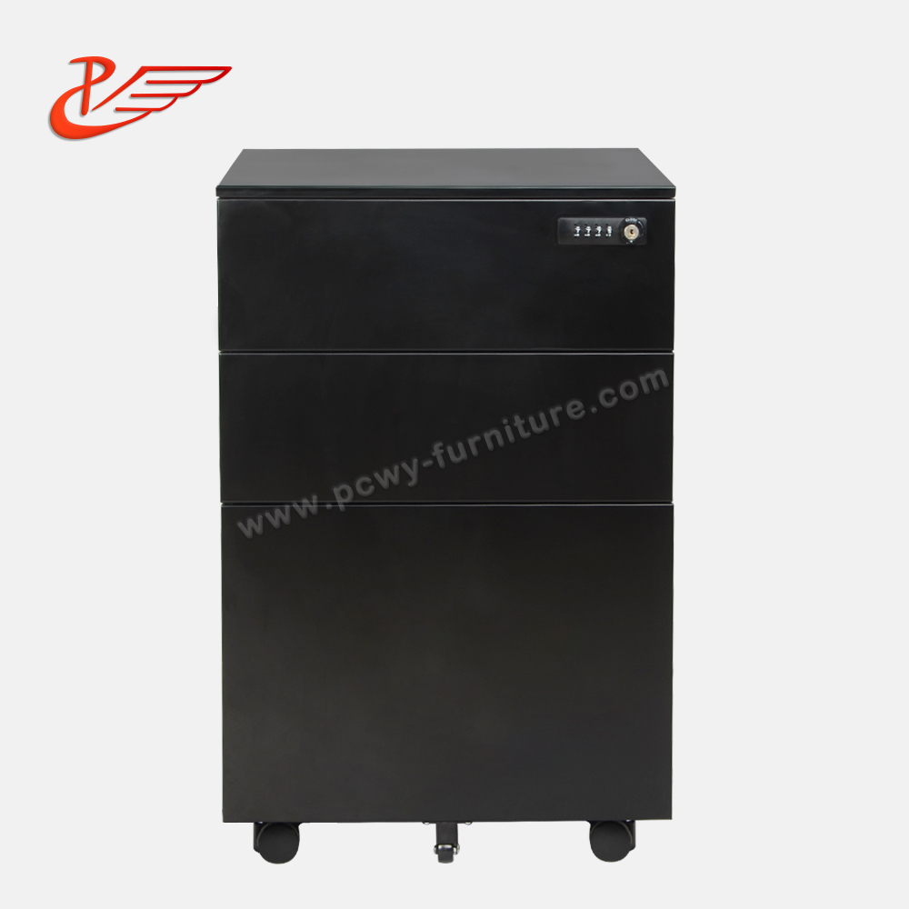Three drawers side open Mechanical locks password steel cabinets with five wheels and one pencil tray and one hanging bar