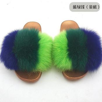 12d0b0428 Summer Women Real Fox hair Slides Female Furry Indoor Flip Flops Casual  Beach Sandals Fluffy Fox