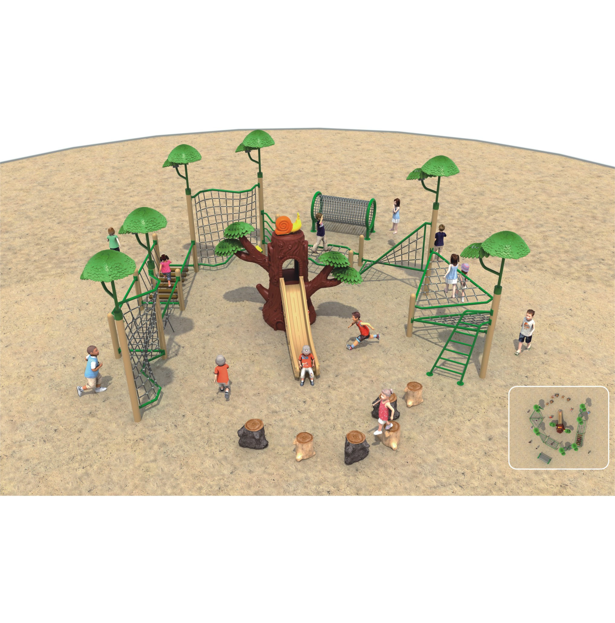 Forest climbing play area space theme big outdoor playground for children