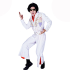 Mens Elvis Presely Costume White King 50s 1950s Rock N Roll 1950s Star Jumpsuit Cosplay Costumes QAMC-3506