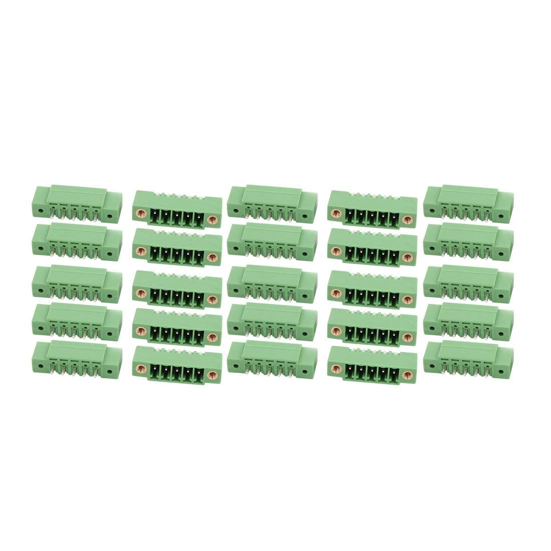 uxcell 25Pcs AC300V 8A 3.5mm Pitch 5P Terminal Block Wire Connector for PCB Mounting Green