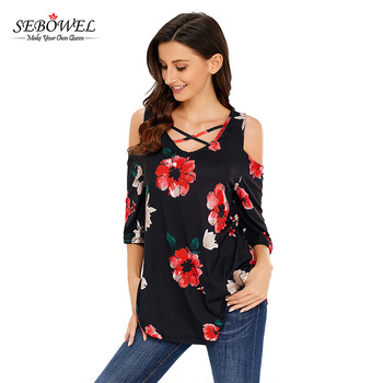 Black Floral Print 3/4 Sleeve Blouse 2017 Latest Fashion Top Design