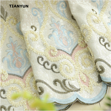 European Luxury Living Room Upscale Applique Embroidery Upholstery Jacquard Curtain