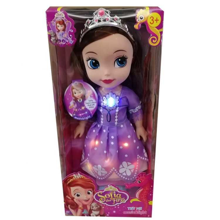 New Arrival 14 Inch Vinyl Soft Kid Toy With Luminous Skirt Led Lighting Dress Musical Toys Princess Sofia <strong>Doll</strong> For Girl