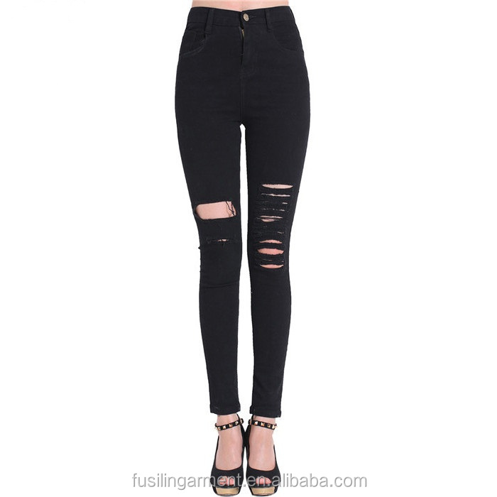 Women Spring Fashion Lady High Street Brand Black Ripped Slim Zipper Fly Mid Waist Skinny Denim Jeans