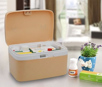 Locking Medicine Cabinet With Separate Compartments Child Proof Pill
