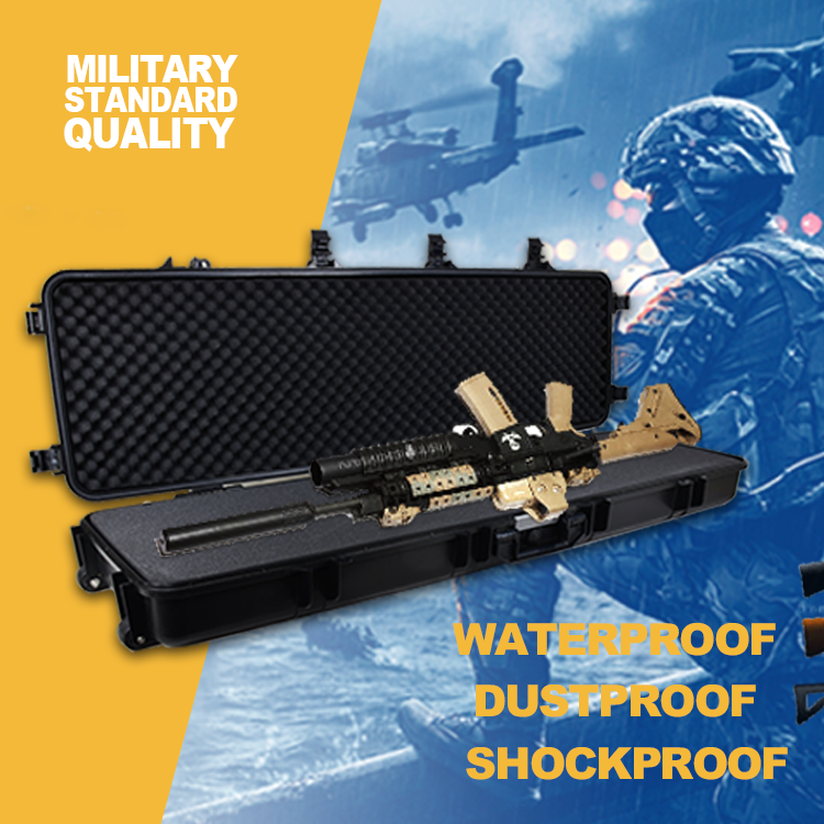 Wholesale cheap waterproof <strong>plastic</strong> hard long gun carry <strong>case</strong> with custom foam