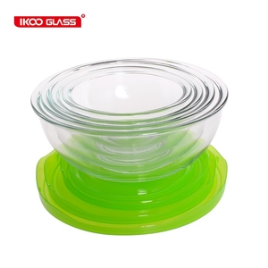 Borosilicate mixing bowl set with lid/Kitchen 8 Pieces Glass Prep Bowl Set/Cheap glass bowls set with lids