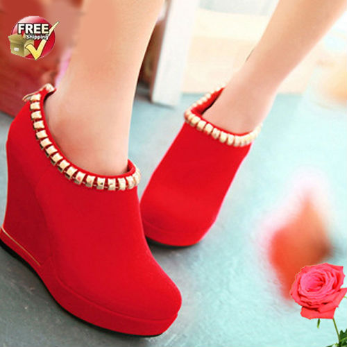 S4031 FREE SHIPPING wholesale shoes 2013 wedge shoes metal trim boots fashion women high heel shoes