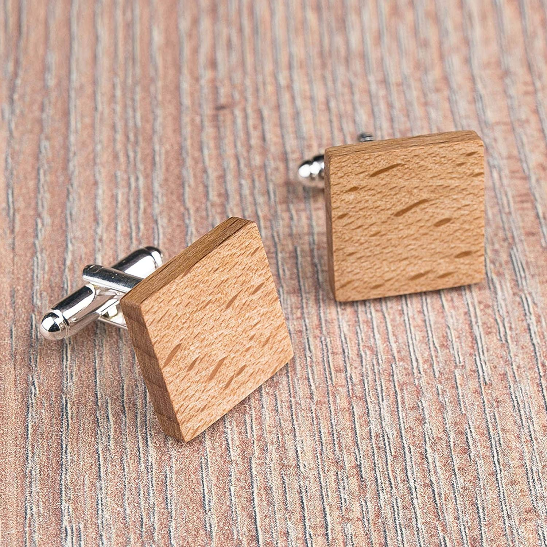 Beech Wood cufflinks. Square cufflinks. Custom personalized initial monogram cufflinks. Natural wood engraved jewelry for men. Boss present. Wedding groomsmen groom gifts