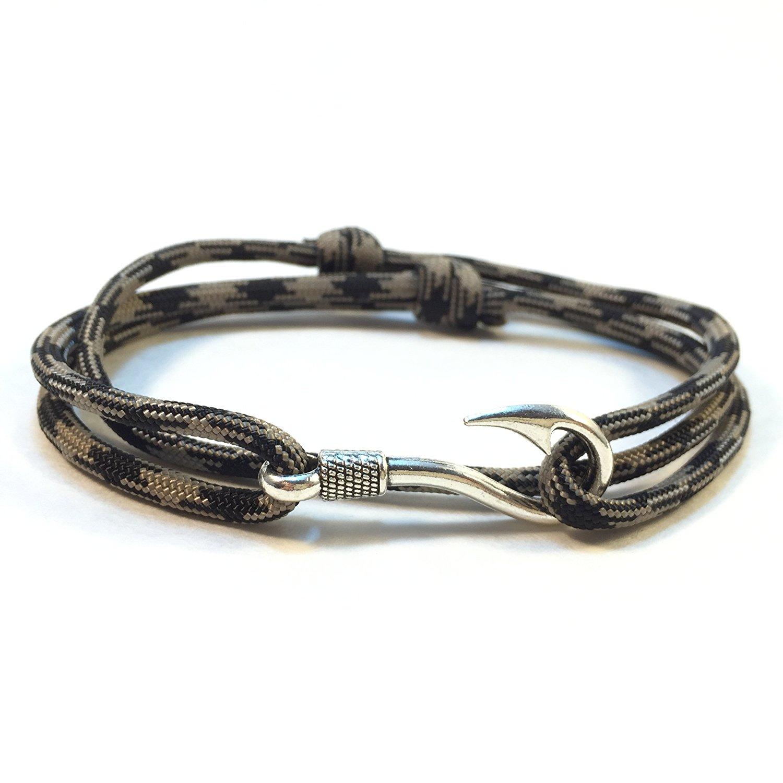 Get Quotations Obsidian Adjule Fish Hook Paracord Bracelet Or Anklet By Stupid Straps