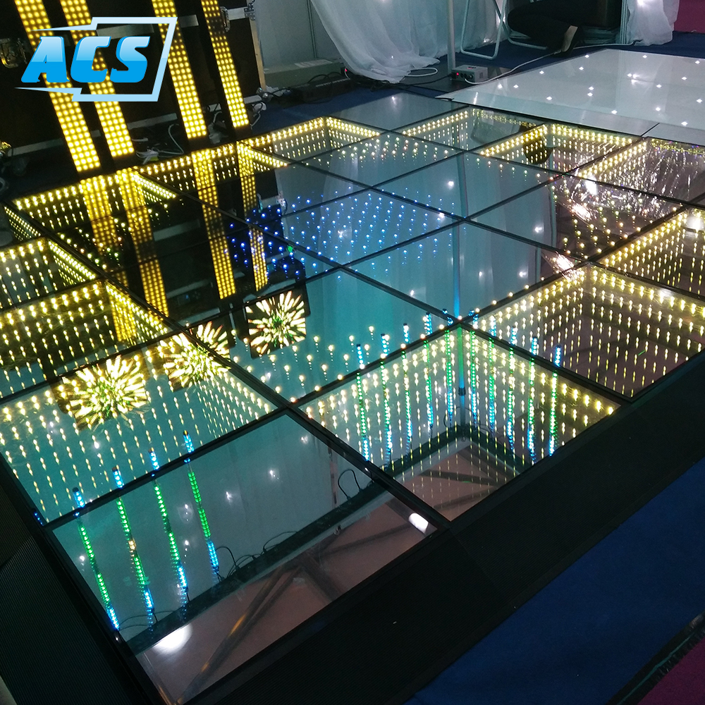 Commercio all'ingrosso RGB Led Dance Floor Led 3D Specchio abyss Pista da ballo 3D DJ stage/natale ha condotto la luce
