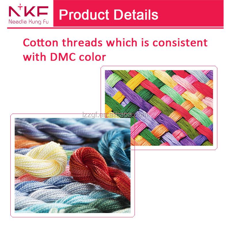 Chino peonía flor Cruz puntada patrón kits algodón DMC hilos para al ...
