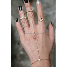 Mothers day gifts cheap slave rings jewelry fashion women gold hand connected chain ring bracelet