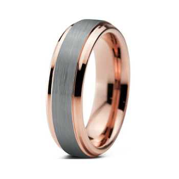 MANCHO Custom Tungsten Wedding Ring Plating IP Rose Gold for women