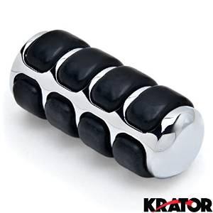 Krator New Chrome Round Shift Peg Cover Brake Toe Heel Shifter Pedal Pad Black Rubber Shift Peg Cover Brake Toe Heel Shifter Pedal Pad