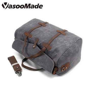 18c04ee37256 Waterproof Retro Vintage large capacity water proof waxed canvas duffel  leather mens overnight weekender duffle travelling