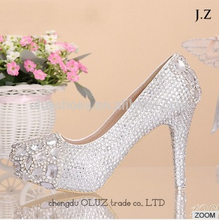 OW03 jelly us size women customize slim high heel crystal decor wedding shoes online