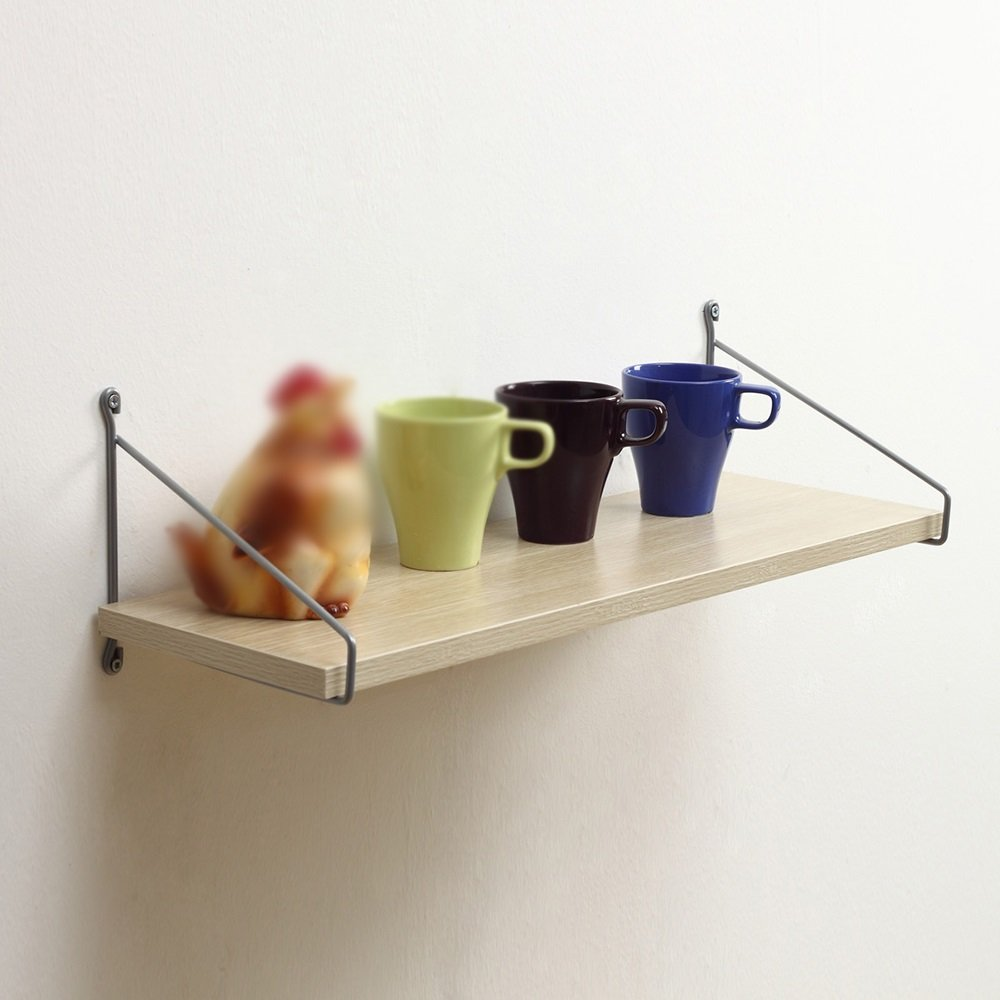 Wooden shelf Wall-mounted shelf / wall-mounted shelf / wrought iron shelf / living room Bookcase / kitchen Bedroom shelf / living room Wall-mounted shelf /(60201.8cm) ( Color : Wood color )