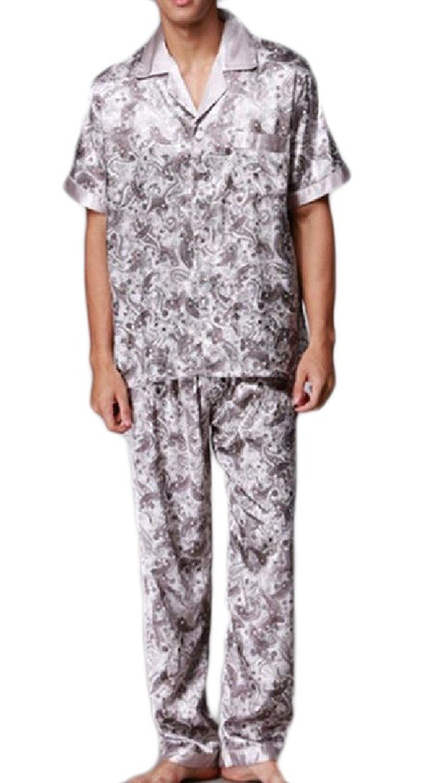 91d2b94b1e Get Quotations · Comfy Mens Stitching Short Sleeve Floral Printed Pajama  Sleepwear Set