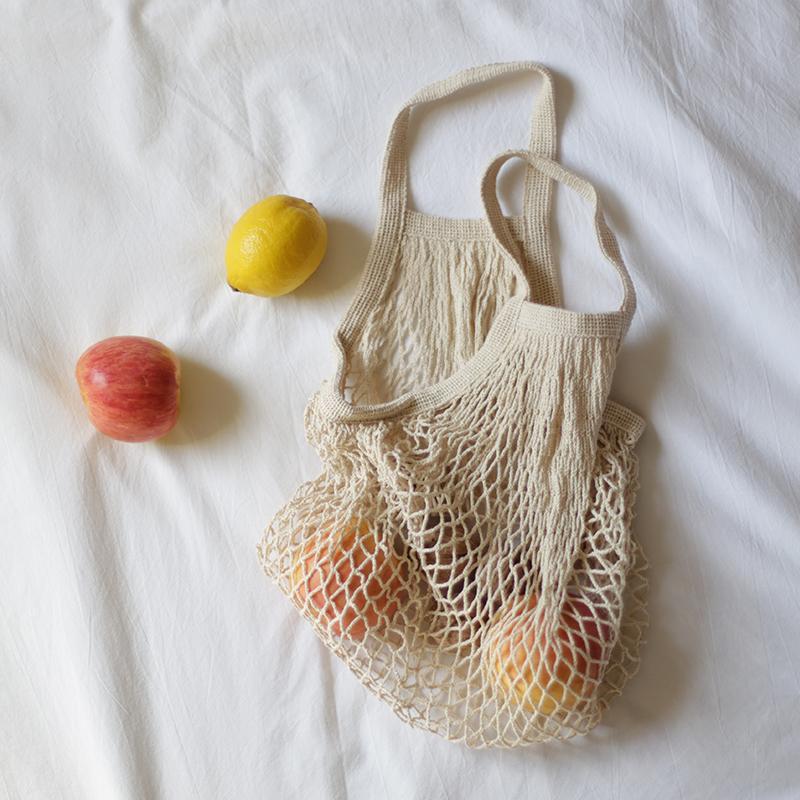 재사용 유기농면 토트 메쉬 쇼핑 그물 가방 야채와 패키지