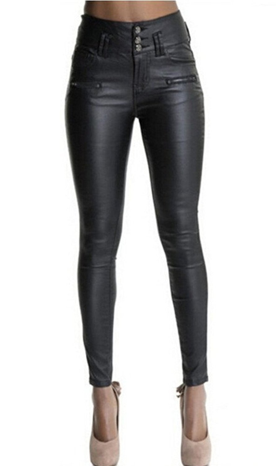 853bb1b60f Get Quotations · Gemijack Womens Faux Leather Leggings Pants Sexy High  Waisted Stretchy Black Tights