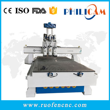 Philicam multi spindle 3d wood cnc router china cnc milling machine , woodworking cnc machine for furniture
