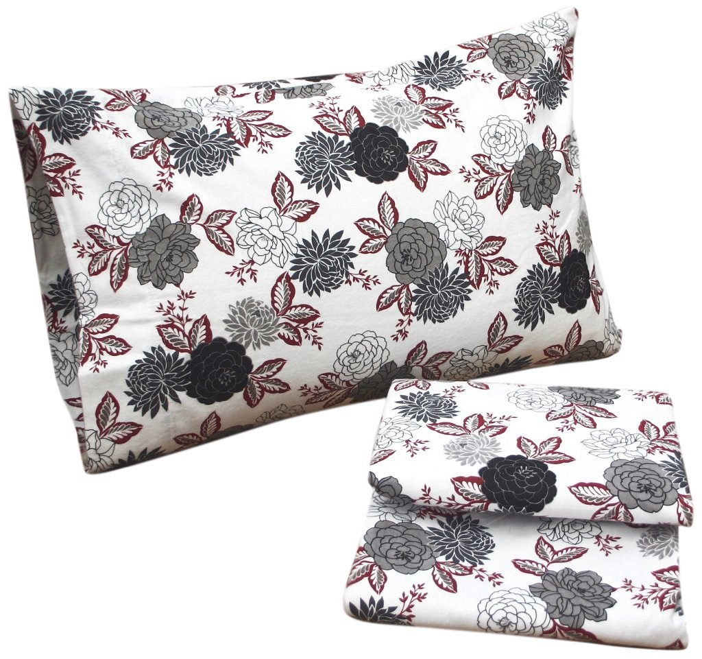Buy Tribeca Living Dahlia Floral Printed Deep Pocket Flannel Sheet