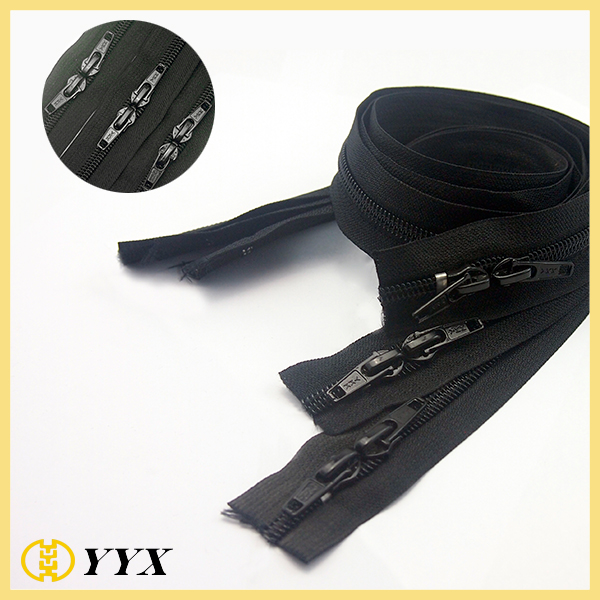 wholesale close end nylon zippe with head to head sliders, zipper manufacturer