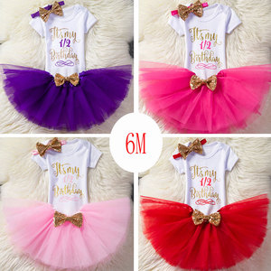 Sequins Baby Girls Kids First Second Birthday Short Sleeves Romper+ Party Bow Tulle Tutu Skirt+Headband 2Pcs Outfit