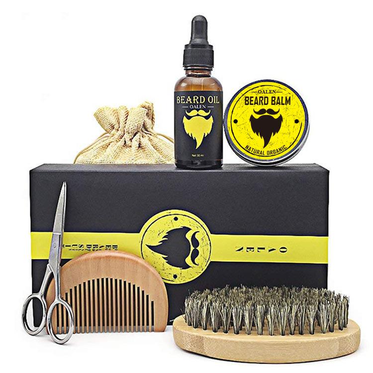 Best Perfect Grooming Beard Oil Balm Butter Wax Brush Comb Sharp Scissors Beard Growth Kit for Men, Transparent