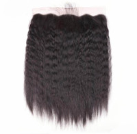 Factory price 100 percent brazilian human hair kinky straight swiss lace frontal 13x6 13x4 with baby hair
