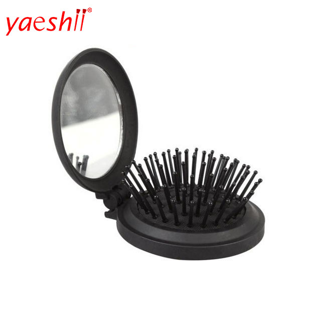 Magic Pocket Folding mirror comb anti-static Hair Brush Mirror Portable  Girl HairBrush With MINI Round Mirror