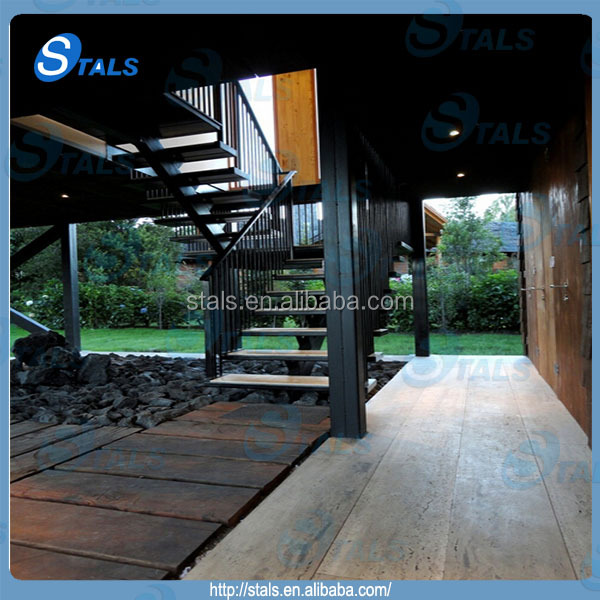 modern design single core floating stringer steel handrail wood tread straight staircase