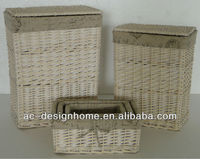 S/5 RECTANGULAR WILLOW HAMPER BASKETS W/LID & LINER