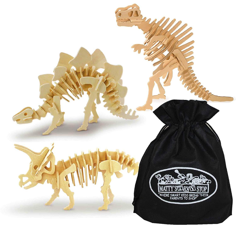 Toysmith 3D Dinosaur Wood Puzzle Kits Stegosaurus, Triceratops & Spinosaurus Gift Set Bundle with Bonus Matty's Toy Stop Storage Bag - 3 Pack